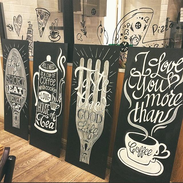 рисунок на грифельной доске в кафе